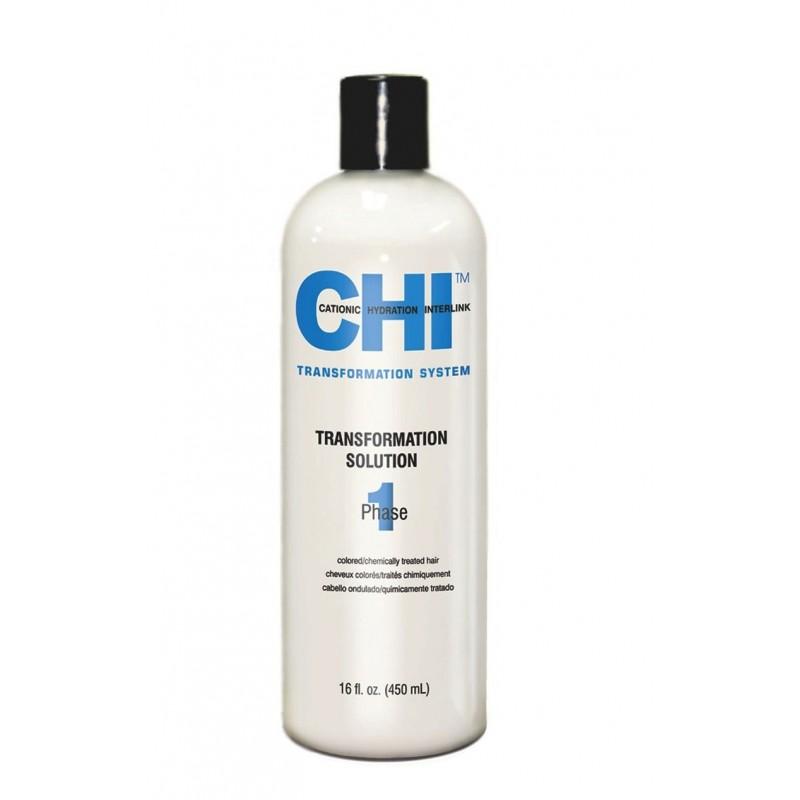 CHI Transformation Solution System Faza 1 Płyn prostujący do farbowanych włosów (niebieski)