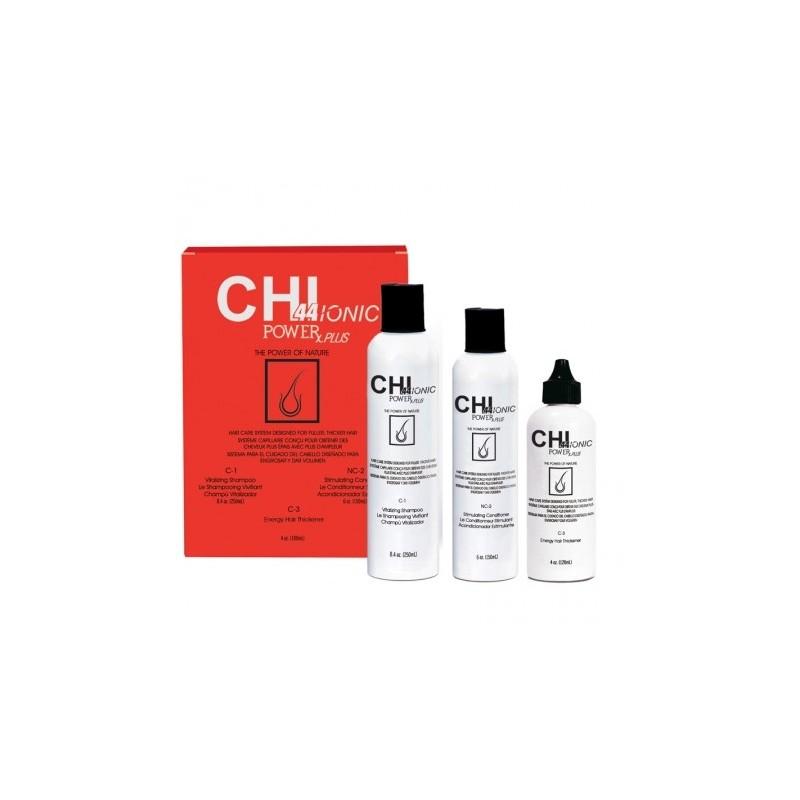 CHI44 Ionic Power Plus do włosów traktowanych chemicznie / Potrójny System (Szampon, Odżywka, Suplement)