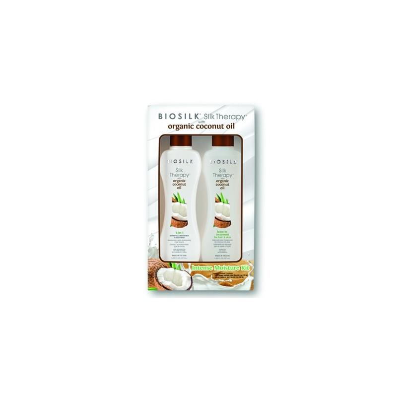Zestaw Biosilk z Organicznym Olejkiem Kokosowym Intense Moisture KIT