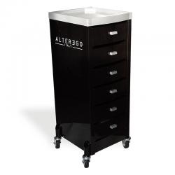 Alter Ego Wózek czarny z szufladkami - pomocnik dla fryzjera [2113]