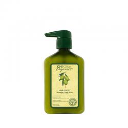 CHI Olive Organics Szampon i żel do mycia ciała z oliwą z oliwek i jedwabiem 340 ml