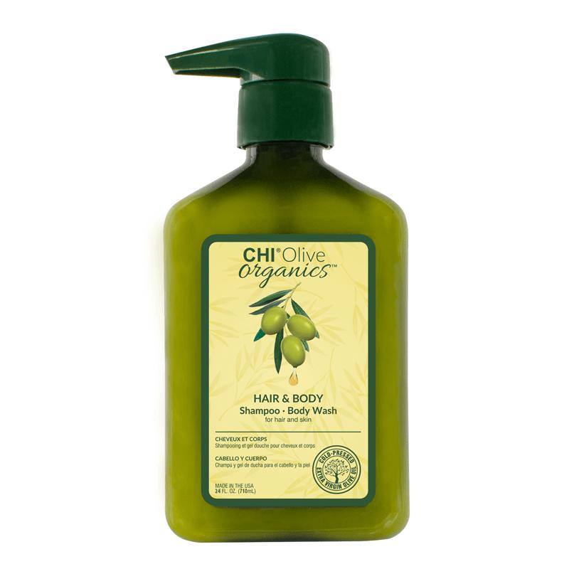 CHI Olive Organics Szampon i żel do mycia ciała z oliwą z oliwek i jedwabiem 710 ml