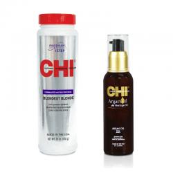 Zestaw CHI Blondest Blonde Proszek rozjaśniający 454 g + Olejek Arganowy CHI Argan Oil 89 ml