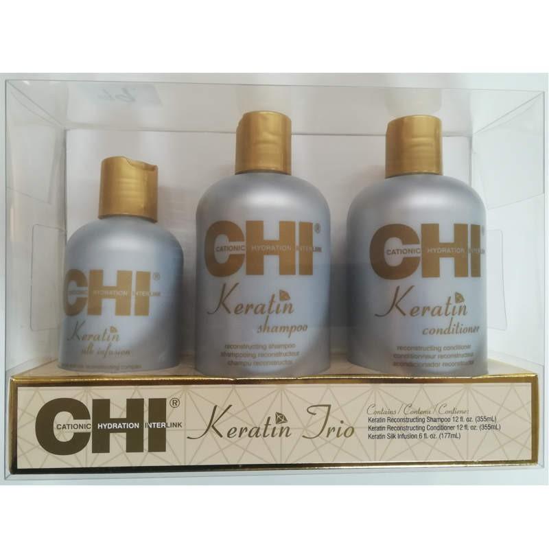 CHI Keratin TRIO SET (szampon 355ml + odżywka 355ml + Jedwab 177ml)