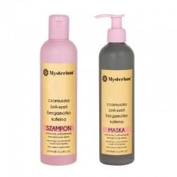 Mysterium Zestaw wzmacniający z olejkiem z czarnuszki bez siarczanów (szampon + maska) (różowy)