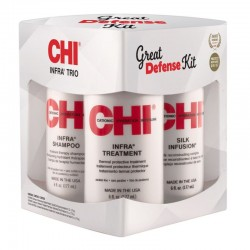 CHI Infra Trio Great Defense KIT (Szampon 177ml + Odżywka 177ml + Silk Infusion 177ml)