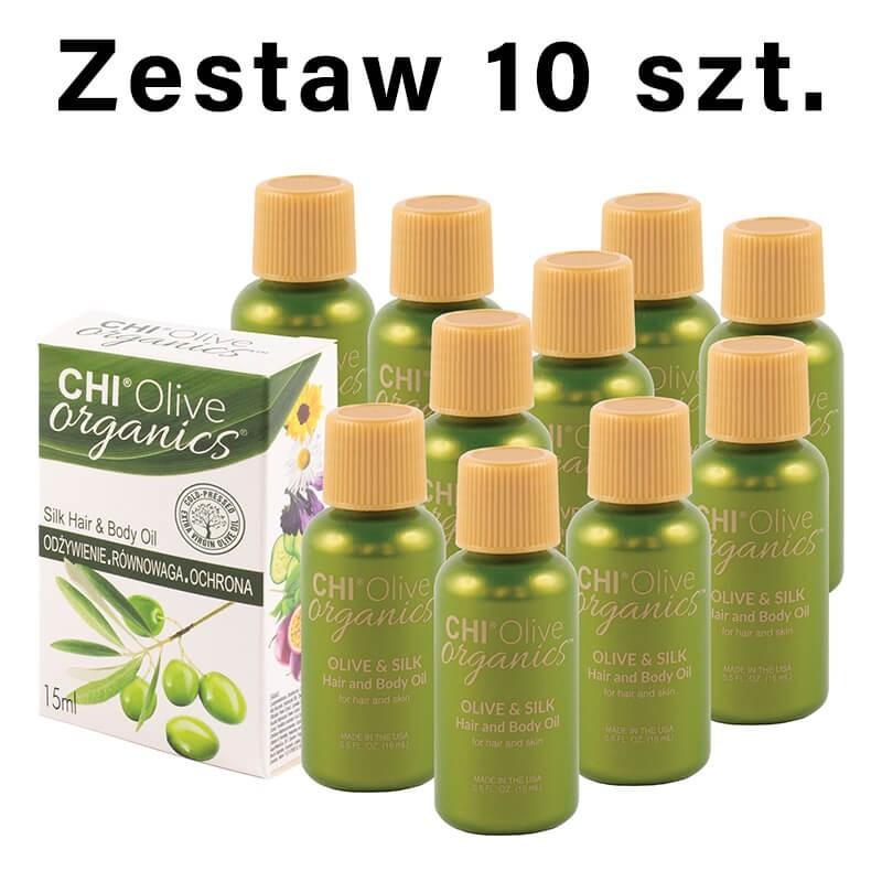 Zestaw 10 x CHI Olive Organics Oliwka nawilżająca z oliwą i jedwabiem 15 ml
