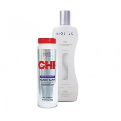 Zestaw Proszek CHI Blondest Blonde 454 g + Jedwab Biosilk 355 ml