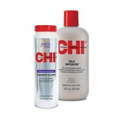 Zestaw Proszek CHI Blondest Blonde 454 g + Jedwab CHI Silk Infusion 355 ml