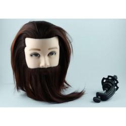 Główka fryzjerska męska z brodą włos naturalny