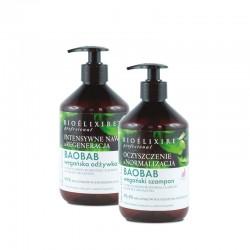 Zestaw Bioelixire Pro Baobab Wegański szampon i odżywka 500 ml