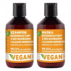 Bioelixire 1 Zestaw regeneracyjny Szampon + Maska z bio bambusem i algami morskimi 300 ml